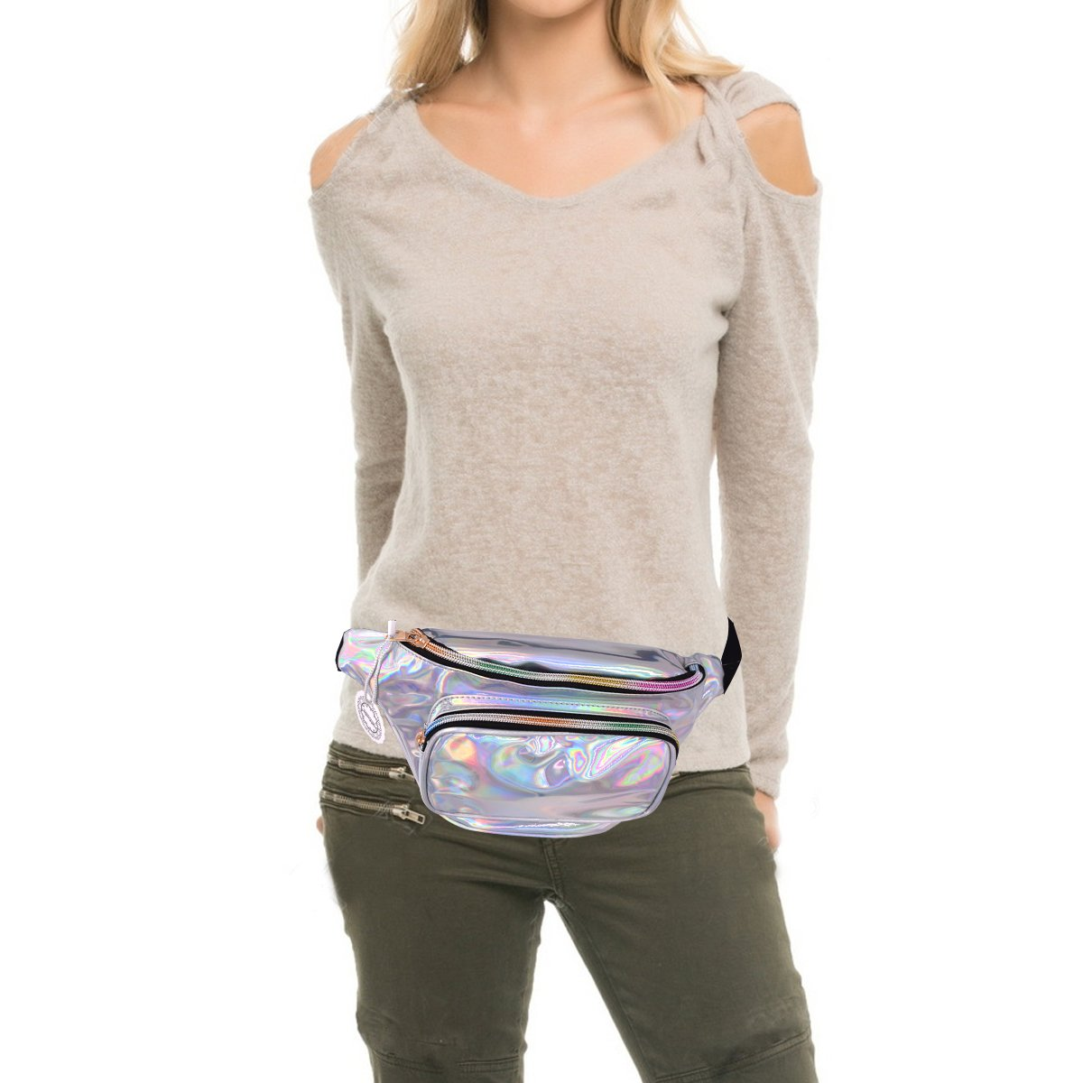 Water Resistant Shiny Neon Fanny Bag for Women Rave Festival Hologram Bum Travel Purse Waist Pack by MOHARY (Image #4)