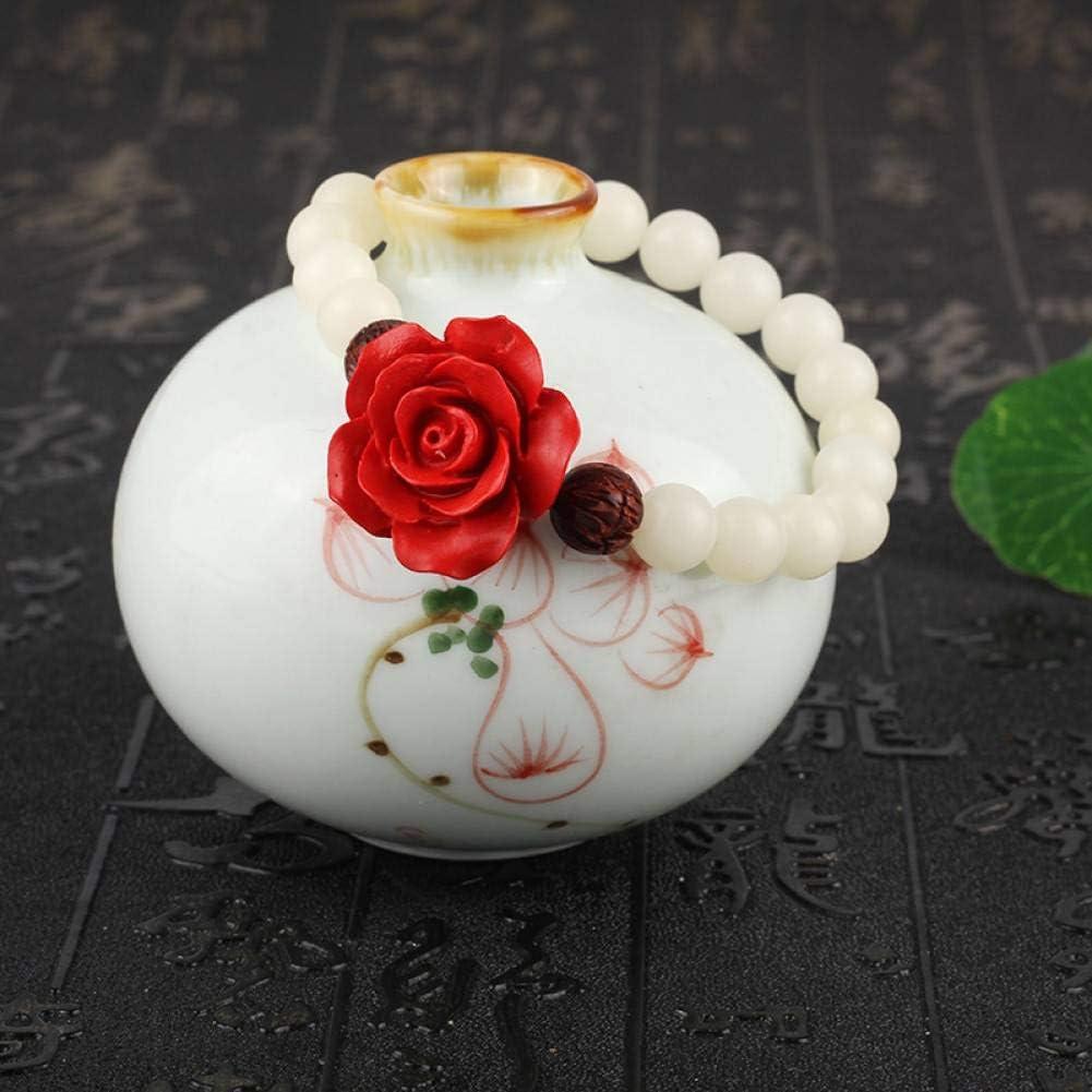 MLJSX Pulsera Bodhi Blanco con Cuentas con cinabrio Tallado Rosas lobular Natural Palo de Rosa Talla Lotus Pulsera para Mujeres joyería de Regalo de Buda