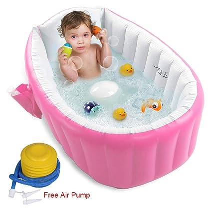 Amazon.com: FLYMEI - Bañera inflable para bebé, portátil ...