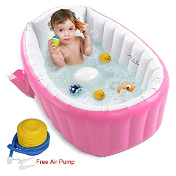Inflatable Baby Kid Toddler Bath Tub Travel Infant Washing Tub Portable New
