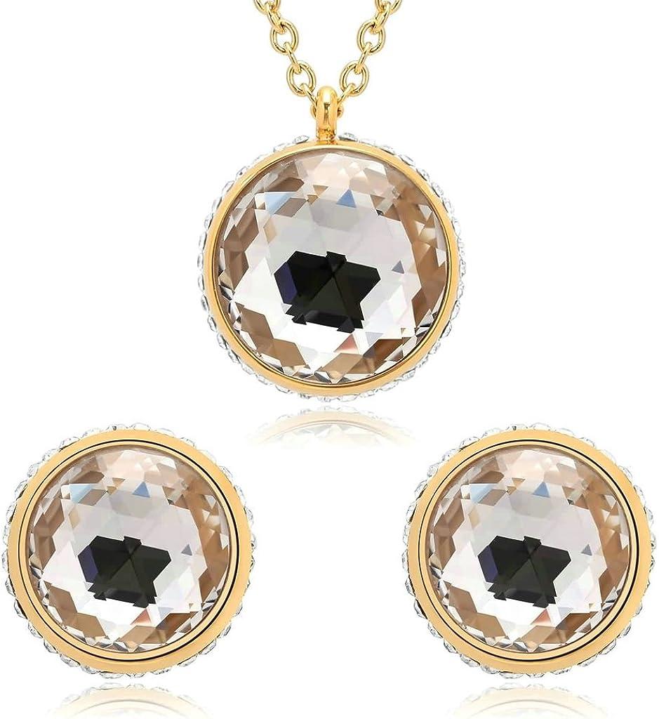 Daesar Joyería Conjunto Collar y Pendientes de Mujer Redondo Solitaria Diamante de Imitación Acero Inoxidable Colgantes y Atres Juego de Joyas