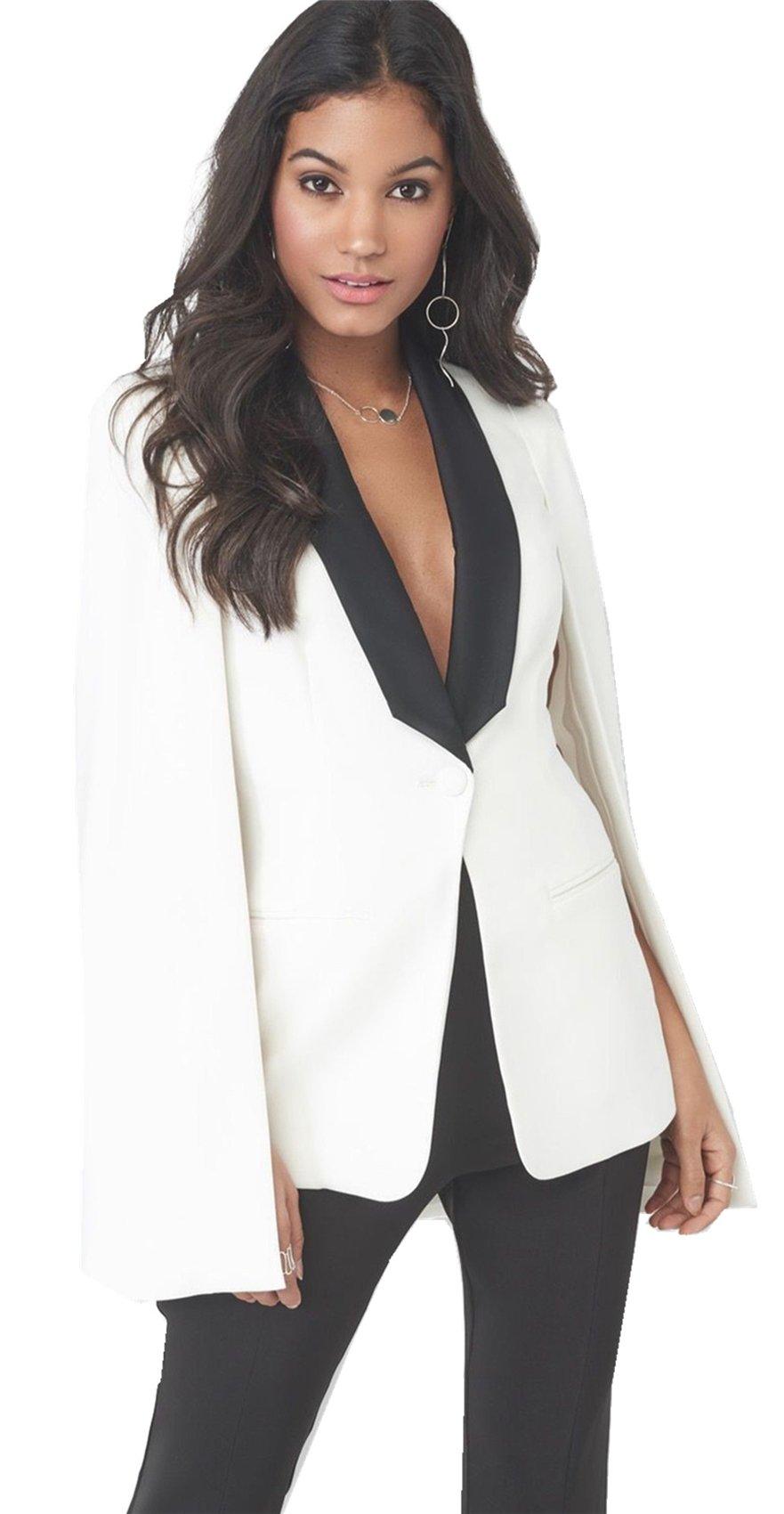 Arctic Cubic Cloak Poncho Cape Style Split Slit Long Sleeve Deep V Neck One Button Pocket Colorblock Blazer Jacket Top White S