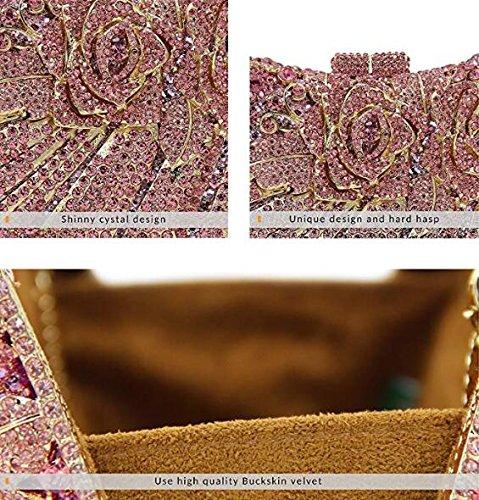 main NBWE Cristal Rose à Femmes Pochette Strass à Sac main Soirée Sac Pink Mariage Sacs Soirée Clutch qHgAB