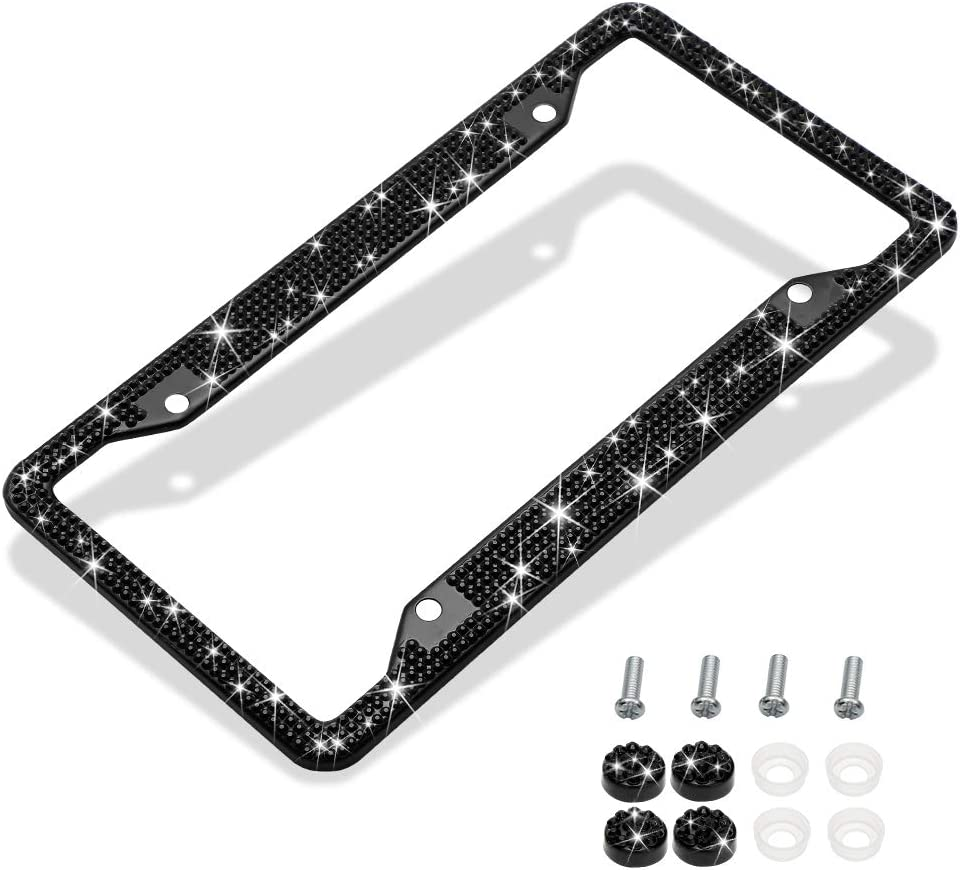 Handmade Finest 14 Facets SS20 Diamond Stainless Steel License Plate Holder Cover Otostar Bling Crystal Car License Plate Frame Silver 3 Rows 4 Holes