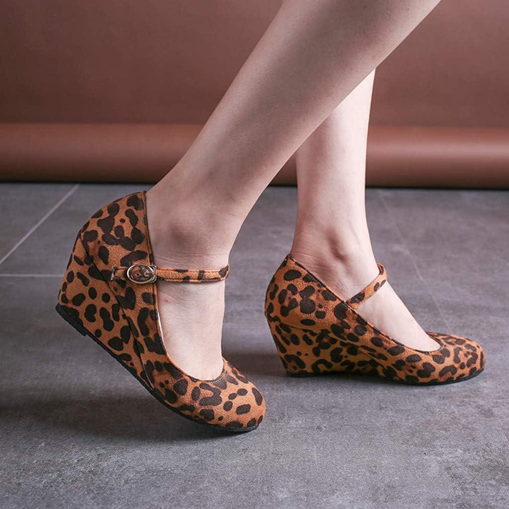 AG&T Plataforma de la Mujer Sandalias con Hebilla de cuña Cabeza Redonda Zapatos Casuales Zapatos Romanos Zapatos Solos: Amazon.es: Deportes y aire libre