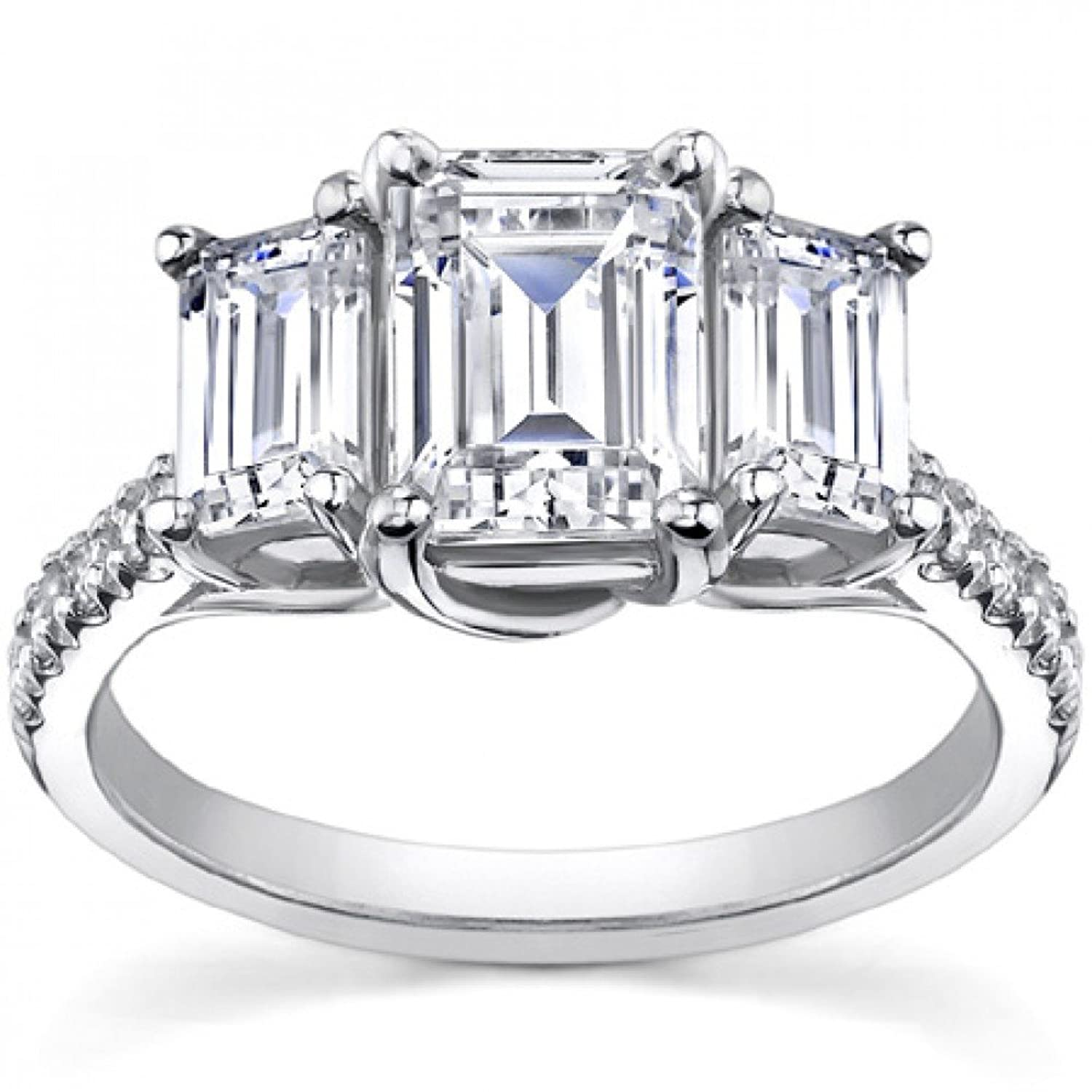 2 10 ct la s emerald cut diamond engagement ring in platinum