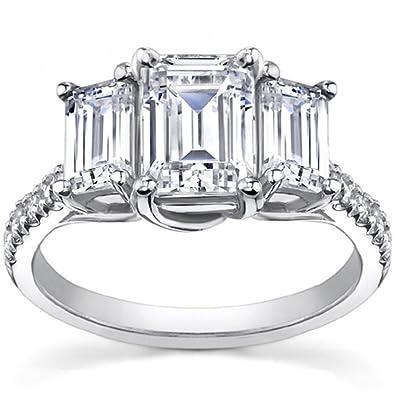 210 ct Ladies Emerald Cut Diamond Engagement Ring in Platinum