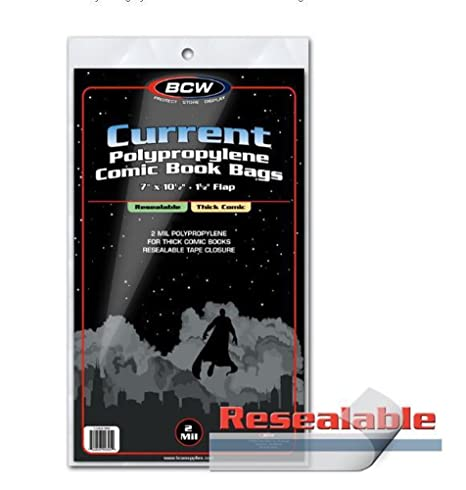 BCW Current resellable bolsas de cómics de grosor - 1 pack ...