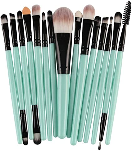 kisshes 15 pcs/Pack juego de pinceles para maquillaje Set de brochas para sombra de ojos Foundation Cosmetic Foundation one size Nero verde: Amazon.es: Belleza