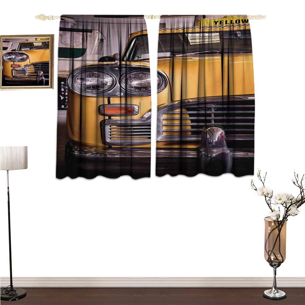 homehot Kitchen Curtains New York,Picture of Antique Yellow Taxi Historic Element of Old NYC Nostalgia Vintage Cab,Yellow Grey Window Drapes for Bedroom W55 x G45