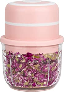 Electric Mini Food Chopper, 1.2 Cup 300ML Glass Bowl Wireless Portable Food Chopper,3.9 x 5.7 inches ,Small Food Processor For Garlic Veggie, Bowl Is Larger Than Similar Products,BPA free,Pink