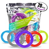PLA filament Pack for 3D Printing Pen – 20 Beautiful colors including 4 Glow In The Dark - 328ft Total of Non Toxic 1.75mm PLA Refills by Curiosity