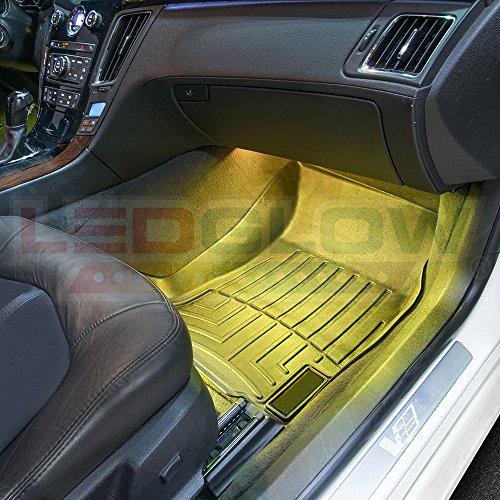ledglow 4pc multi color led car interior underdash lighting import it all. Black Bedroom Furniture Sets. Home Design Ideas