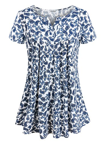 Floral Fabric Button (Anna Smith Floral Print Blouse Tunic, Ladies Short Sleeve V Neck Blouses and Botton-Down Cute Knitwear Pullover T Shirts Flare Hem Pleated Comfy Tops Tops and Clothes Blue Medium)