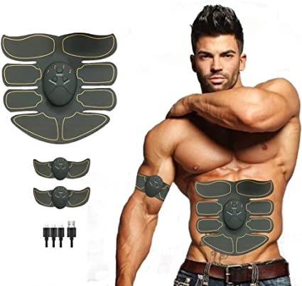 Abdominal Arm Muscle Training Abs Stimulator Muscle Toner Belt USB Rechargeable