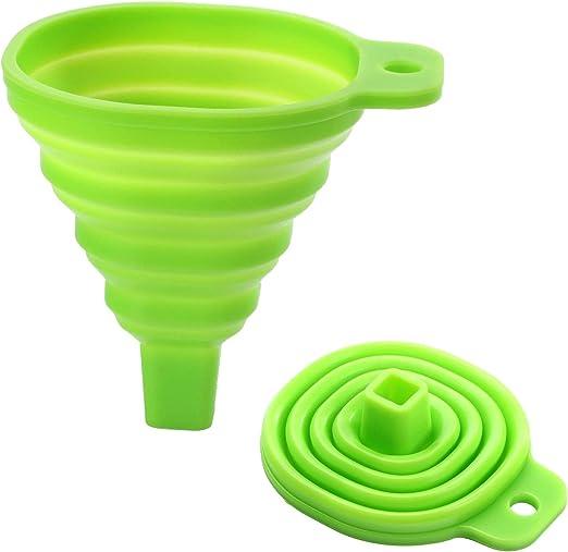 Embudo silicona expandible HelpCuisine Juego de 2 Embudos rojo y verde Embudo de silicona rojo de Alta calidad