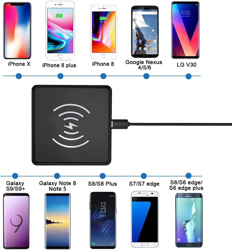Samsung Galaxy Note 8 // S8 // S8 Plus Black S7 // S7 Edge and Qi-Enabled Devices Bravo Maker Qi Wireless Charger Pad with Anti-Slip Rubber for iPhone Xs Max//XR // XS//X // 8//8 Plus