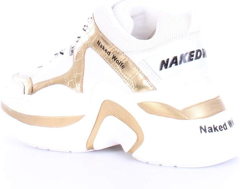 NAKED WOLFE Scarpe Donna Basse con Platform Track Black/off White Combo White