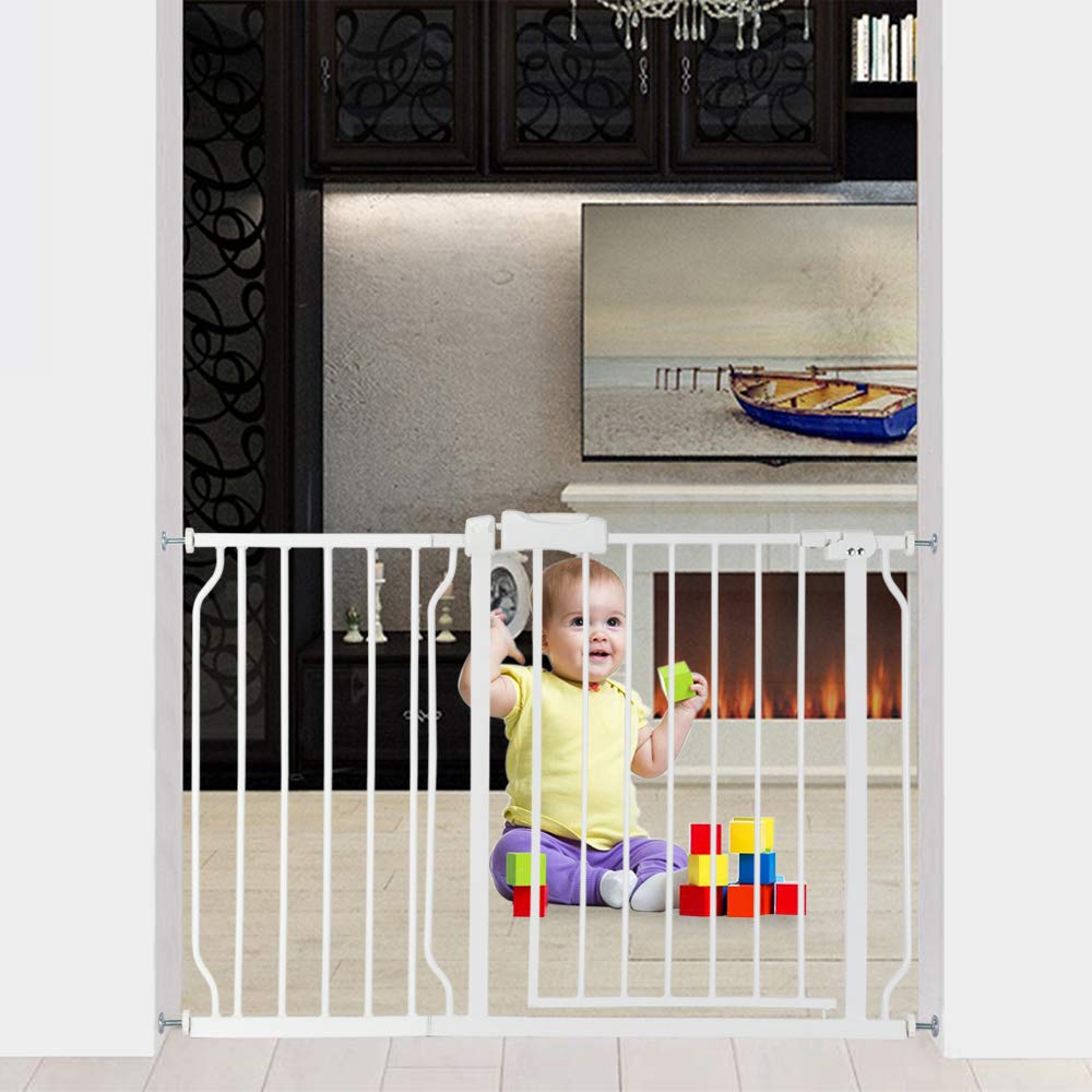 Bonnlo 47'' W Safety Baby Gate Dog Gate Extra Wide Child Gate with 4 Pressured Adjustment Bolts, Extention Kit & Auto Close Door for Stairs, Doorways and Hallways, 31'' H by Bonnlo