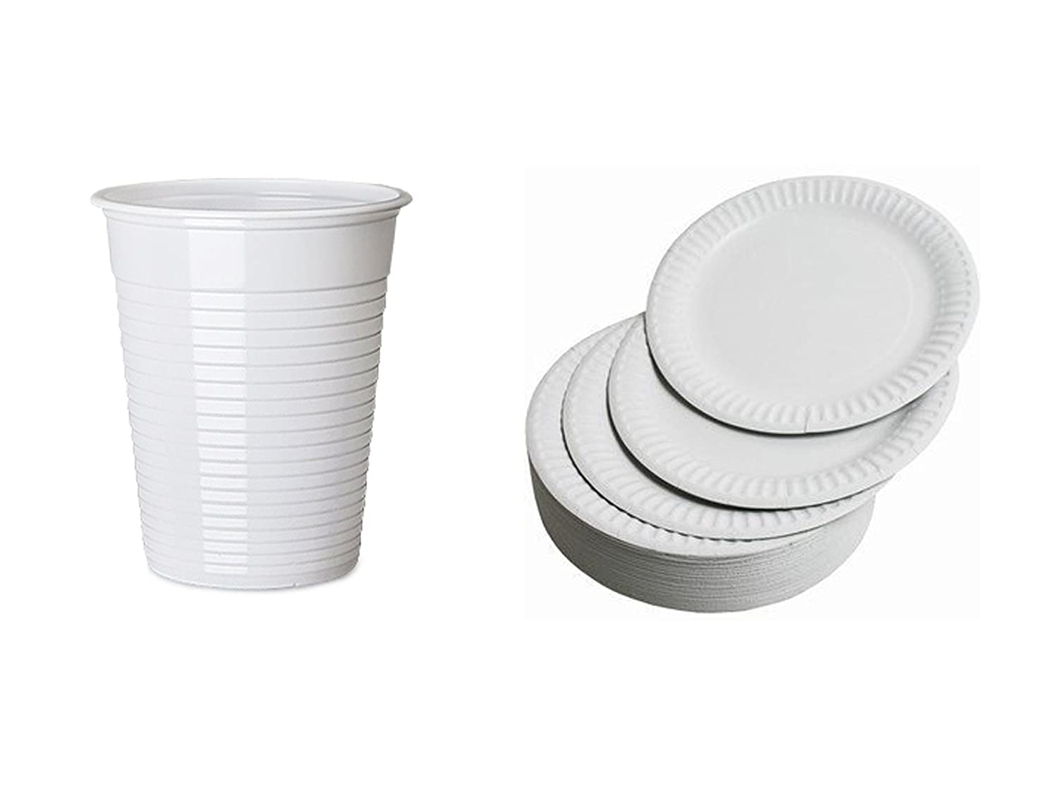 Party Pack of 50 White Plastic Disposable Cups \u0026 Pack of 100x 7\  Paper Party Plates Amazon.co.uk Kitchen \u0026 Home  sc 1 st  Amazon UK & Party Pack of 50 White Plastic Disposable Cups \u0026 Pack of 100x 7 ...