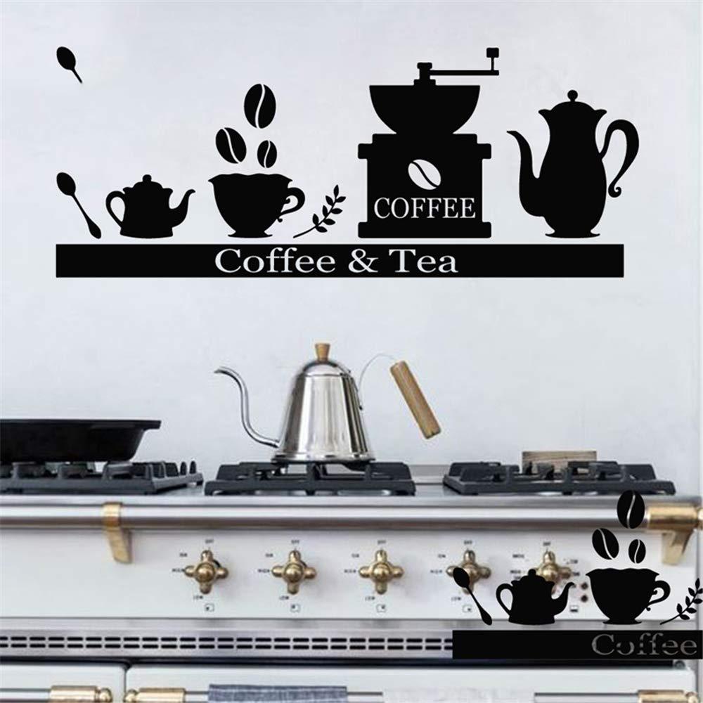 Acquisto adesivo murale 3d adesivo muro Macchina da caffè Portabicchieri da tè Decalcomania da bar Caffettiera da cucina Modello per cucina Prezzi offerta