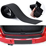Advgears Rear Bumper Protector Guard Universal Black Rubber Scratch-Resistant Trunk Door Entry Guards Accessory Trim Cover fo