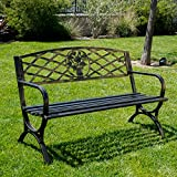 Belleze 50″ Patio Garden Bench Park Yard Outdoor Furniture Porch Chair Seat Steel Frame, Bronze Review