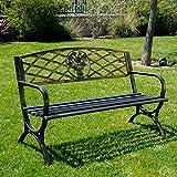 Belleze 50'' Patio Garden Bench Park Yard Outdoor Furniture Porch Chair Seat Steel Frame, Bronze