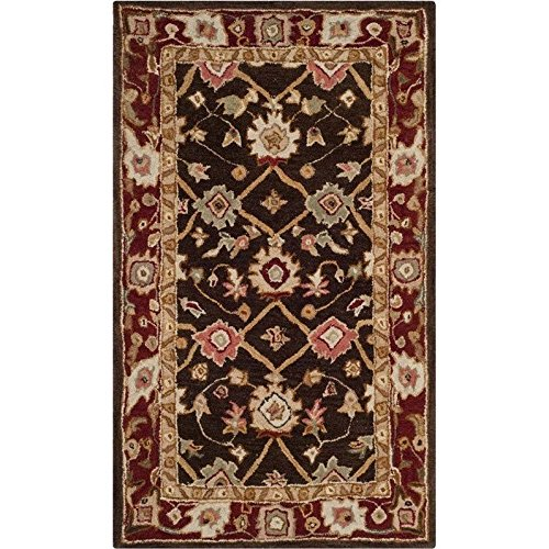 Safavieh Taj Mahal Collection TJM108A Handmade Traditional Olive and Burgundy Wool Area Rug (4' x 6') - Taj Mahal Olive Rug