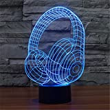 Christmas Valentine Wedding And Birthday Gifts 3D Table Touch Lamp 7 Colorful Color Changing Night Light for Children and Kids Headphones