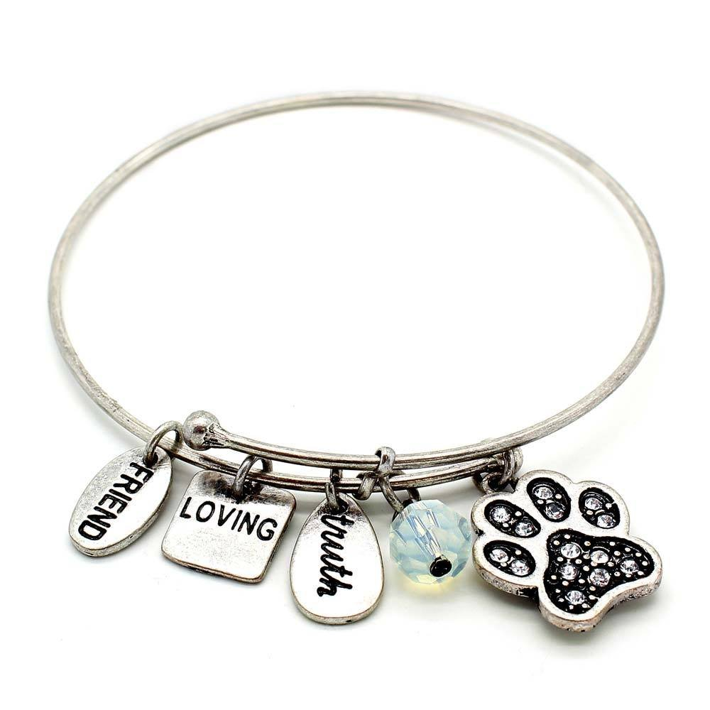 Symbology 'Dog Paw' Bangle Bracelet, Silver - Expandable Wire Charm Bracelet Accented With Crystal Stones And One Shiny Glass Bead - Perfect Jewelry For Fashion