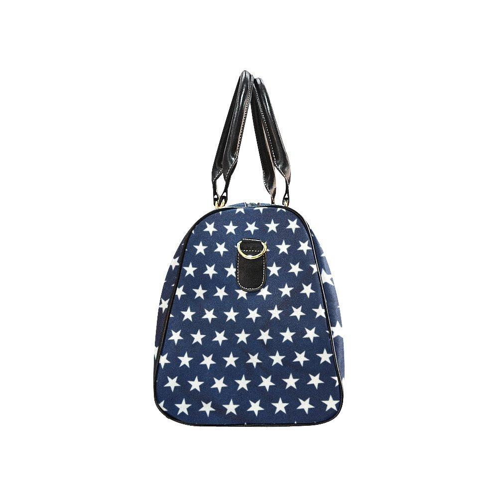 Blue American Flag Stars Large Travel Duffel Bag Waterproof Weekend Bag with Strap