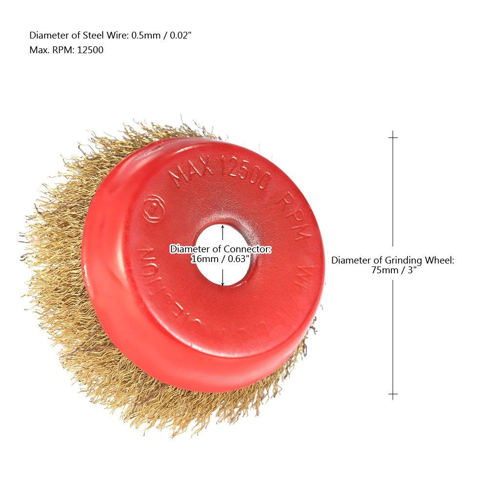KKmoon 2pcs 75mm 3 Acero Rueda de alambre fino Crimp Copa cepillo giratorio de alambre de acero del cepillo amoladora angular Para