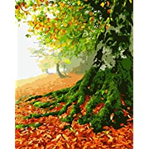 ABEUTY DIY Paint by Numbers for Adults Beginner - Tree Fallen Leaves 16x20 inches Number Painting Anti Stress Toys (No Frame)