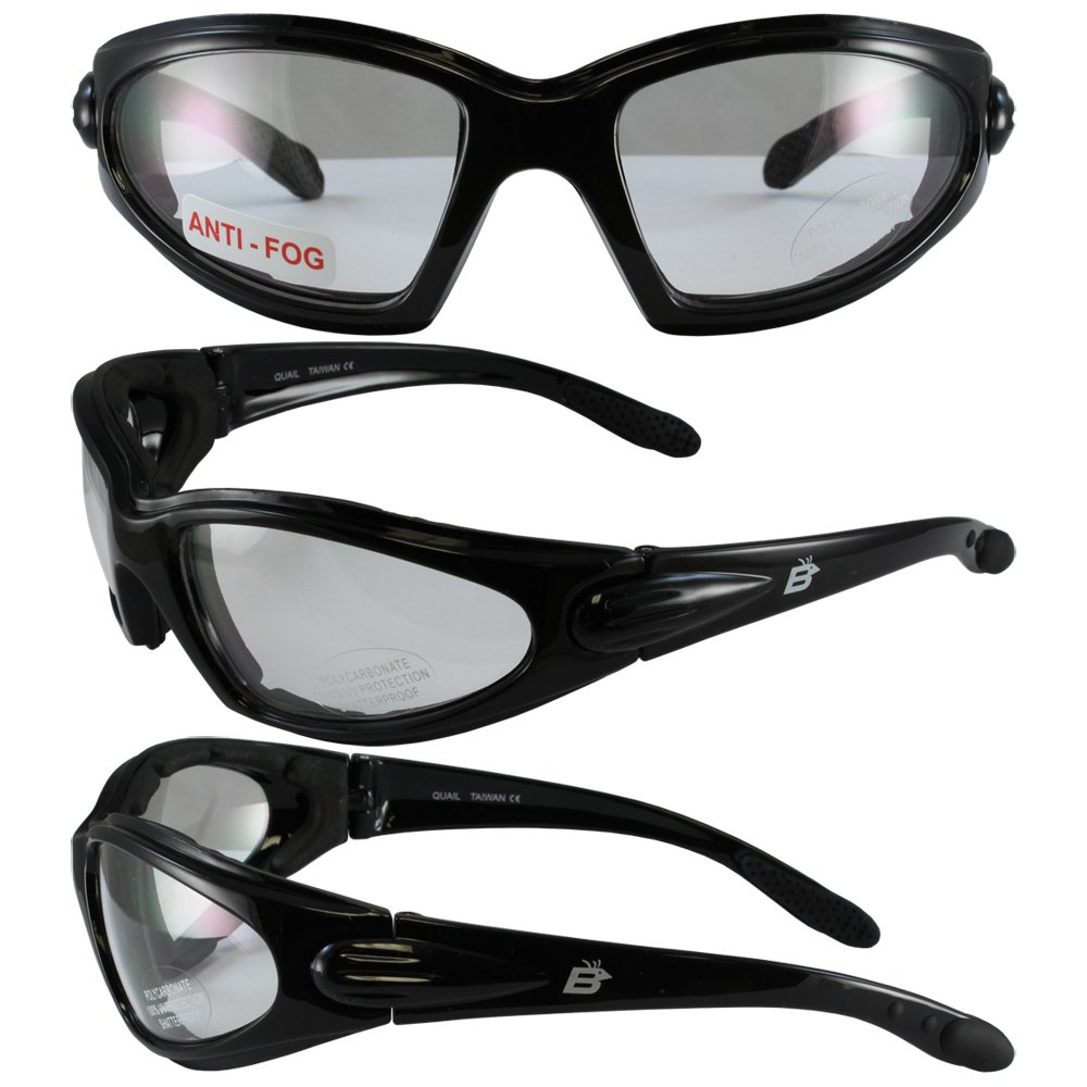 Birdz Eyewear Quail Padded Motorcycle Glasses (Black Frame/Smoke Lens) QUAILSM