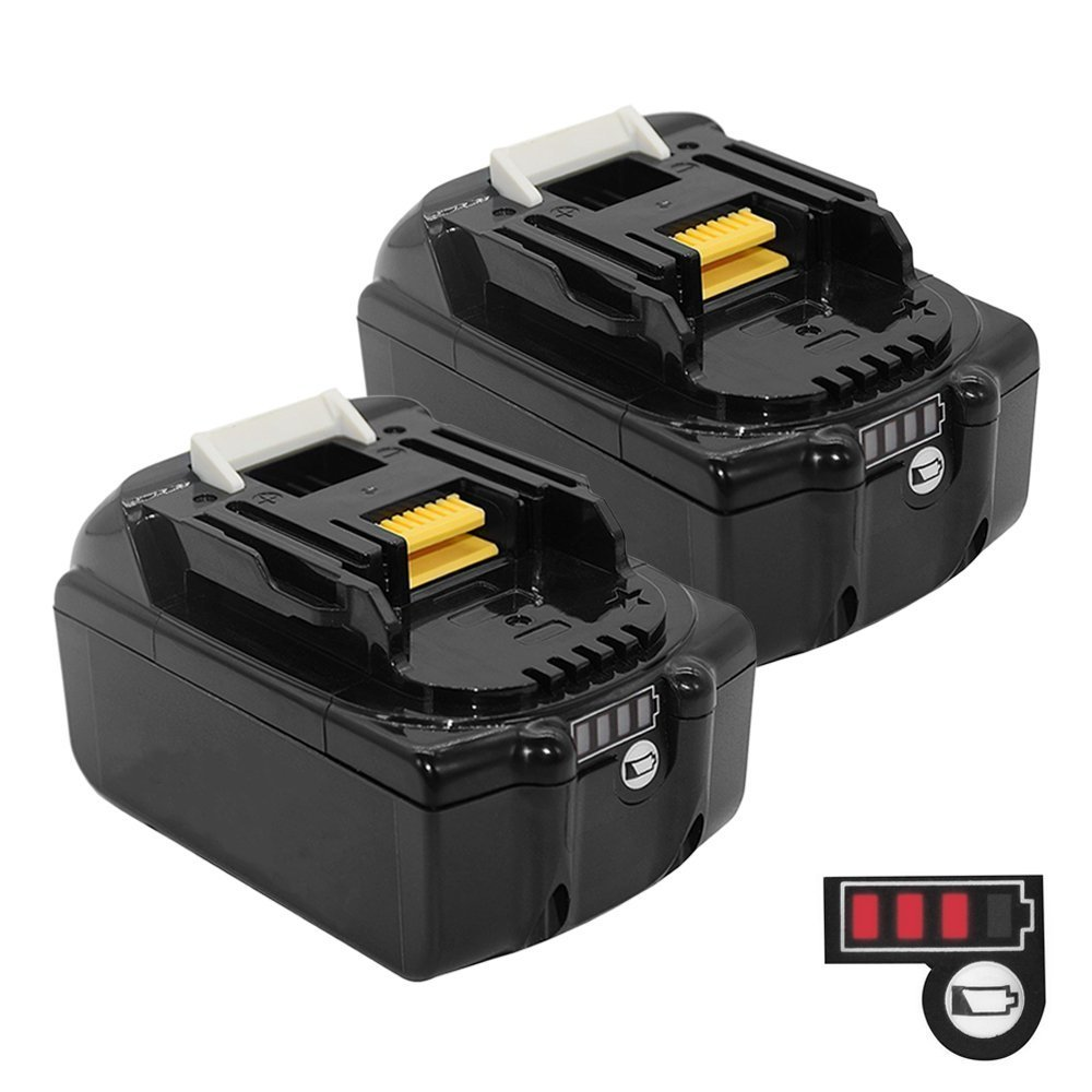 2 Pack Flylinktech 18V 5.0Ah Li-ion LXT Battery Replacement for Makita BL1850 BL1850B BL1840 BL1830 BL1820 Cordless Power Tool with Battery Indicator (2 pack)