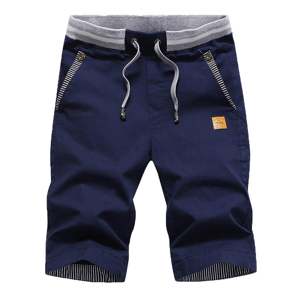TIANMI Mens New Summer Casual Baggy Shorts Fashionable Loose Pure Cotton Colour Shorts
