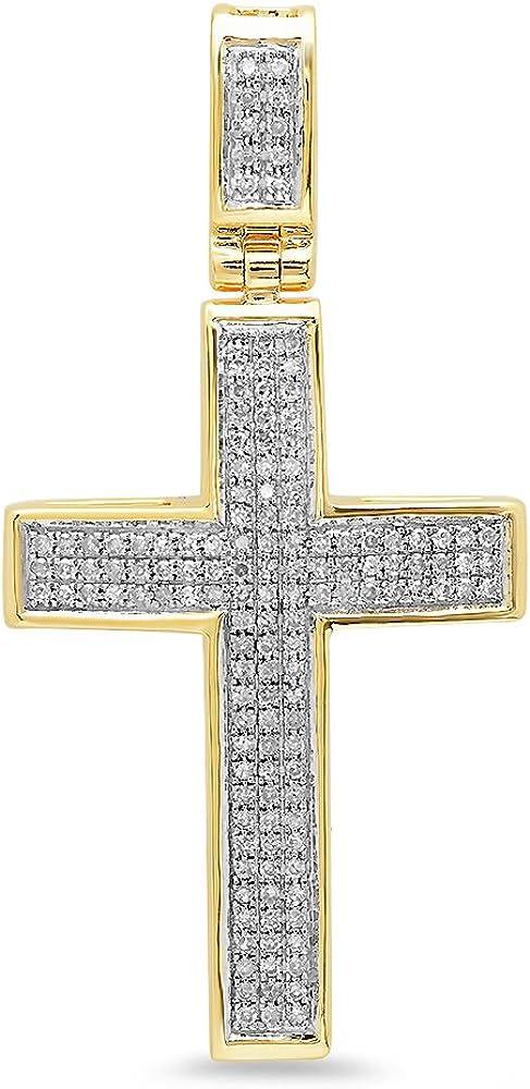 Dazzlingrock Collection Colgante de cruz de oro de 14 quilates con diamantes redondos de 0,48 quilates (cadena de plata incluida)