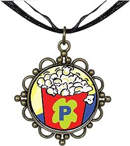 Chicforest Bronze Retro Style Movie Popcorn Round Flower Pendant