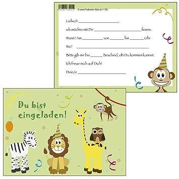10 Einladungskarten Bunte Tiere U0026quot;DU Bist Eingeladenu0026quot; ...