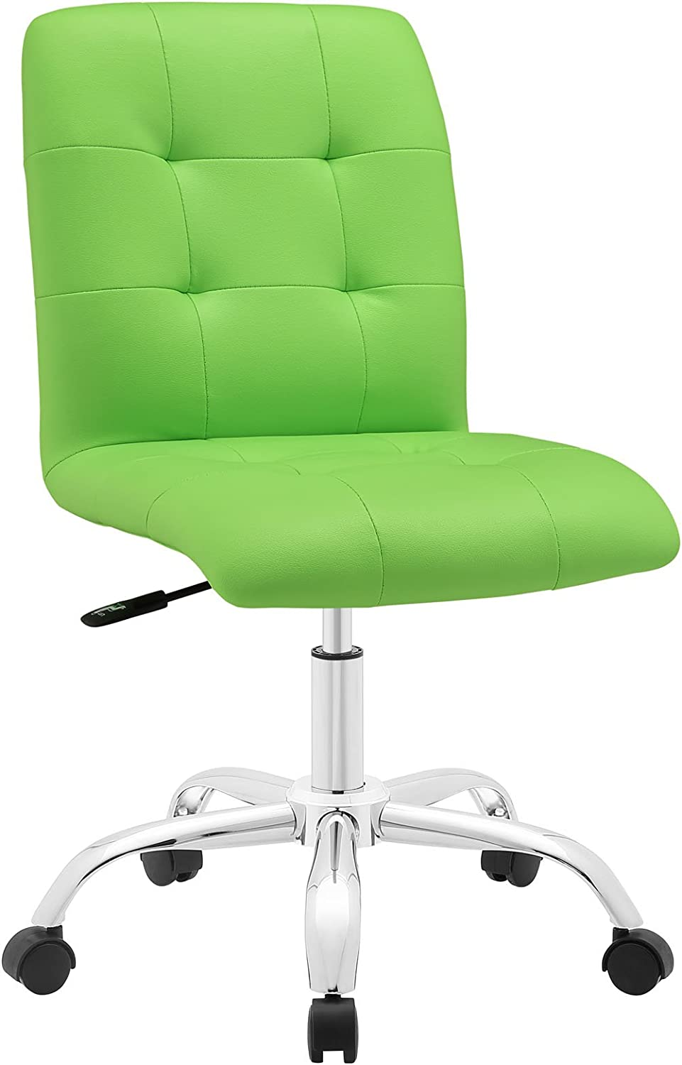 Modway Prim Ribbed Armless Mid Back Swivel Conference Office Chair In Bright Green