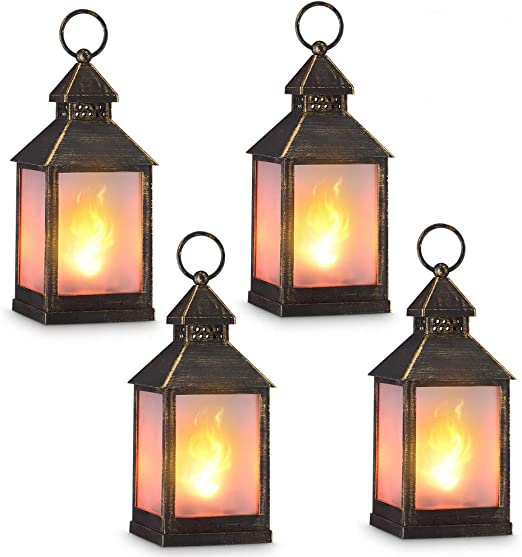 """zkee 7"""" Vintage Style Decorative Lantern,Flame Effect LED Lantern,(Golden  Brushed Black,7 Hours Timer) Indoor Lanterns Decorative,Outdoor Hanging"""