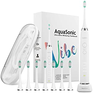AquaSonic VIBE series Ultra Whitening Electric Toothbrush - 8 DuPont Brush Heads & Travel Case Included - Sonic 40,000 VPM Motor & Wireless Charging - 4 Modes w Smart Timer - Optic White