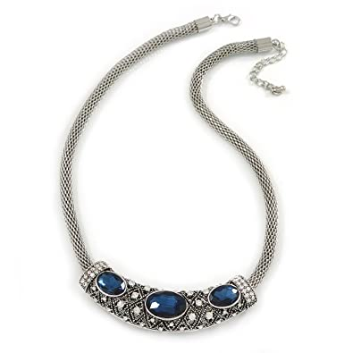 Avalaya Silver Tone Ethnic Circle with Midnight Blue Glass Stone Chunky Round Link Chain Necklace - 46cm L/4cm Ext 1yyO9w
