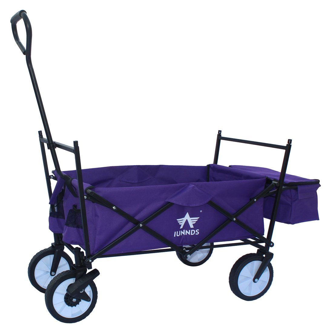 Sports God Folding Wagon Collapsible Utility Graden Cart with Removable Canopy + Storage Basket + FREE Cooler (Purple) by Sports God (Image #3)