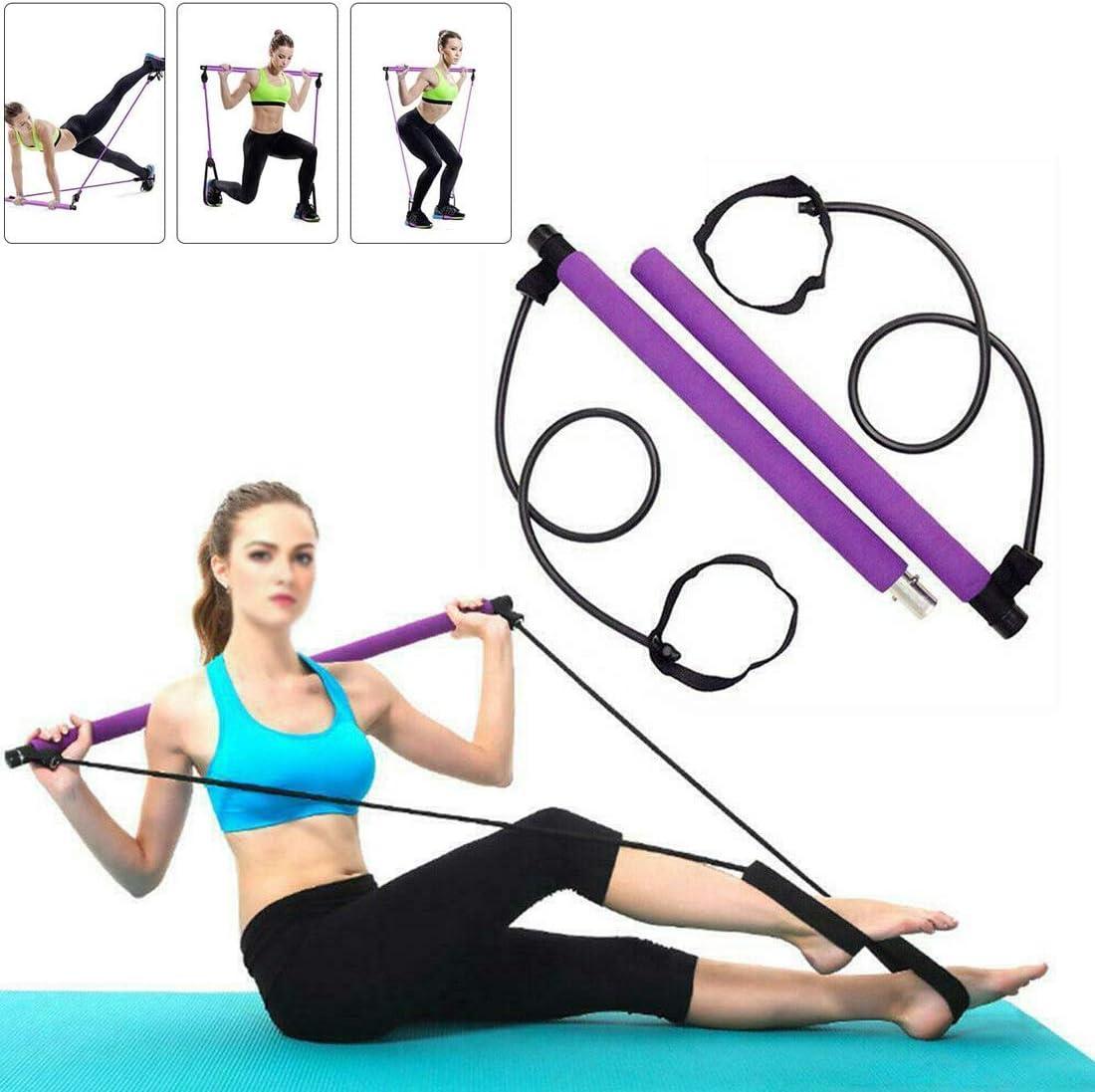 Kit de Barra de Pilates portátil con Banda de Resistencia Yoga Barra de Ejercicio de Yoga Pilates Stick con Foot Loop para Yoga, Estiramiento, Banda de Resistencia de Barra de Abdominales (púrpura)