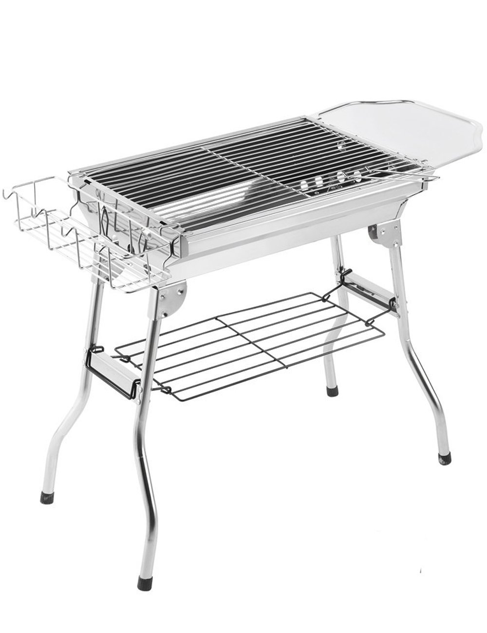 Menschwear 19'' Stainless Steel Foldable Charcoal Grills Outdoor Portable Thickened BBQ Camping Grills 50cm