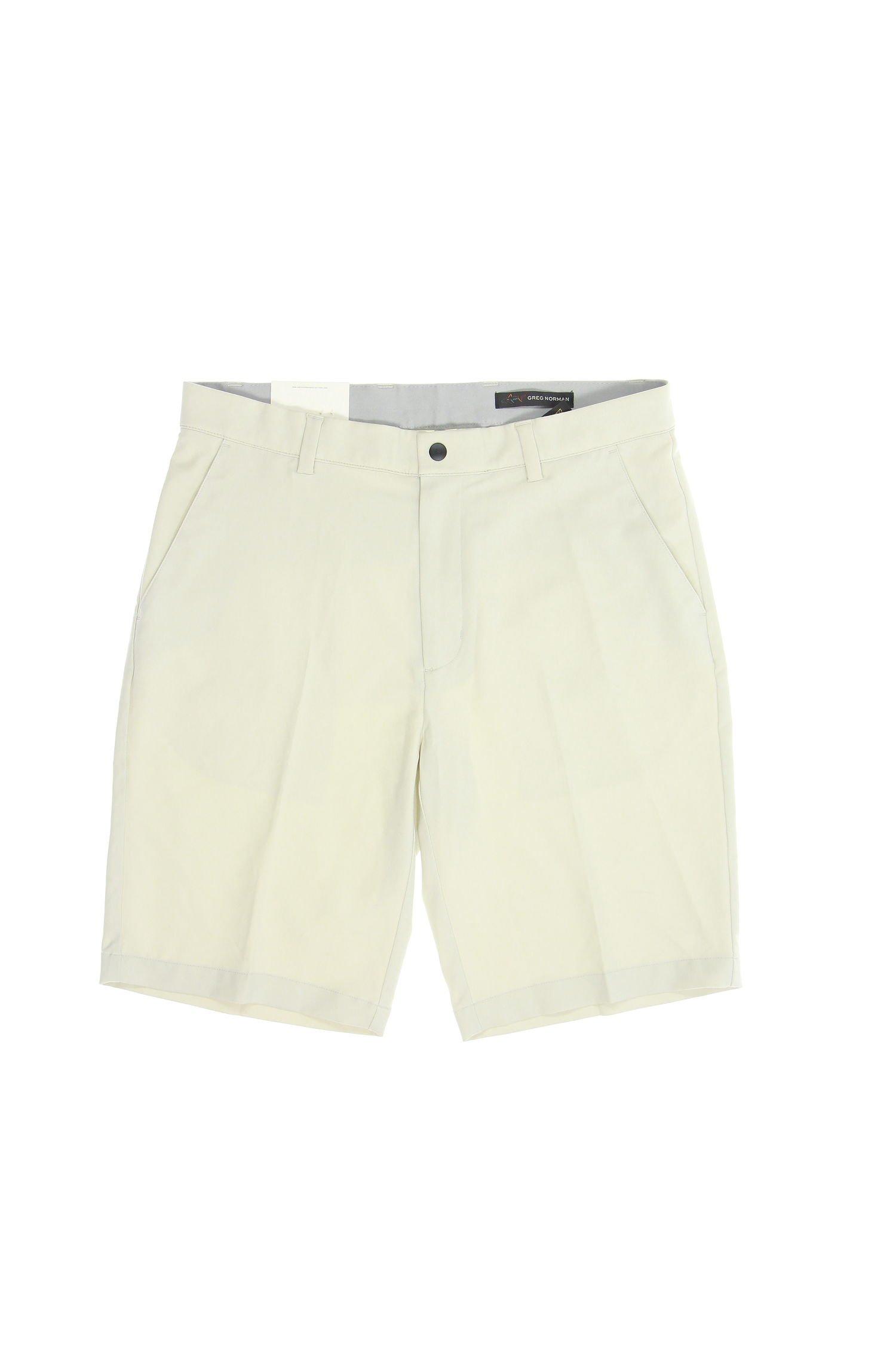 Greg Norman Tasso Elba Flat Front Walking Shorts (32, Ivory)