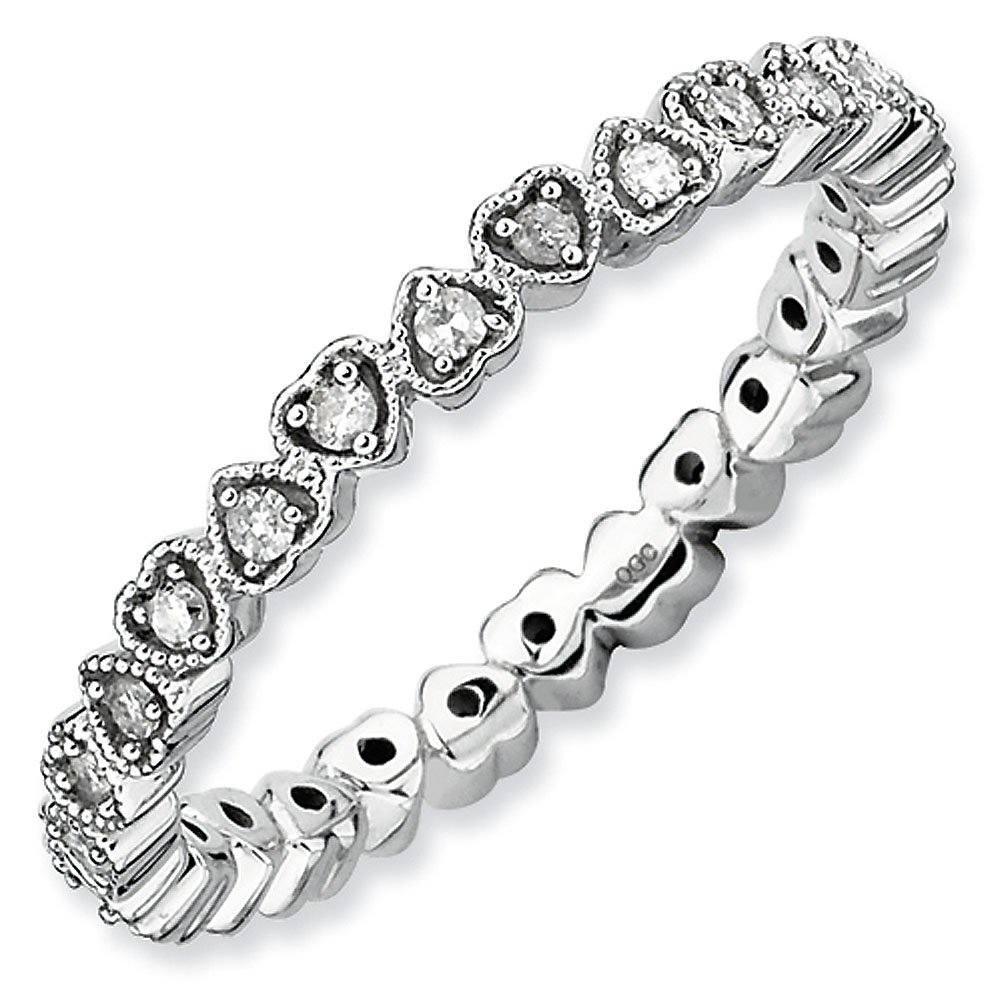 2.5mm Sterling Silver Stackable Expressions Diamond Heart Eternity Ring - Size 5