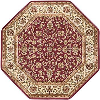 Ventura Transitional Oriental Red Octagon Area Rug, 8 Octagon